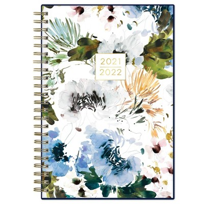 """2021-22 Academic Planner 5"""" x 8"""" Flexible Plastic Cover Weekly/Monthly Wirebound Blooms Blue - Kelly Ventura"""