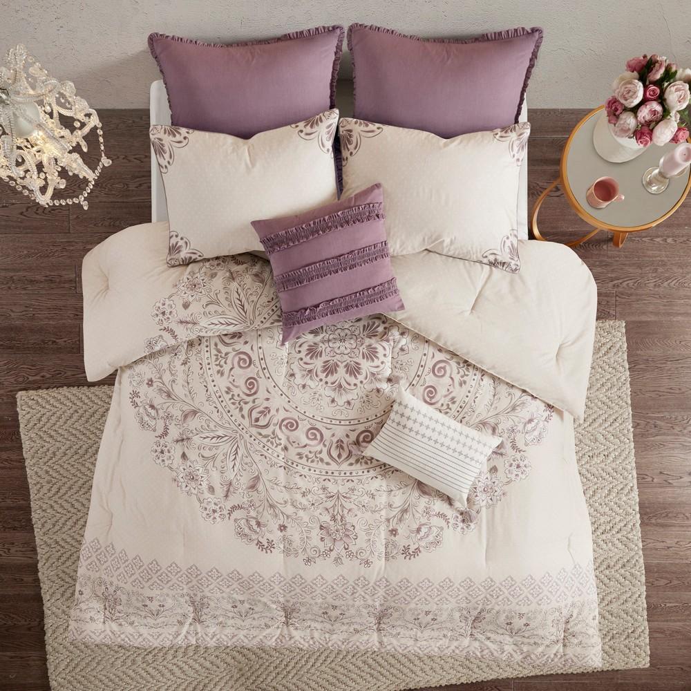 8pc Queen Kaia Cotton Printed Reversible Comforter Set Purple