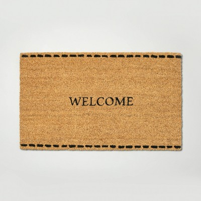 Stitch Border 'Welcome' Coir Doormat - Hearth & Hand™ with Magnolia