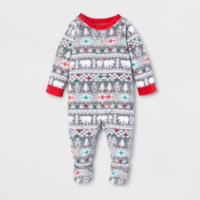 Baby Holiday Fuzzy Bear Fair Isle Footed Sleeper - Wondershop™ White 3-6M