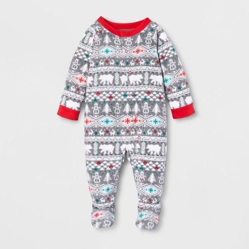 ff8b8126ce Baby Holiday Fuzzy Bear Fair Isle Footed Sleeper - Wondershop™ White
