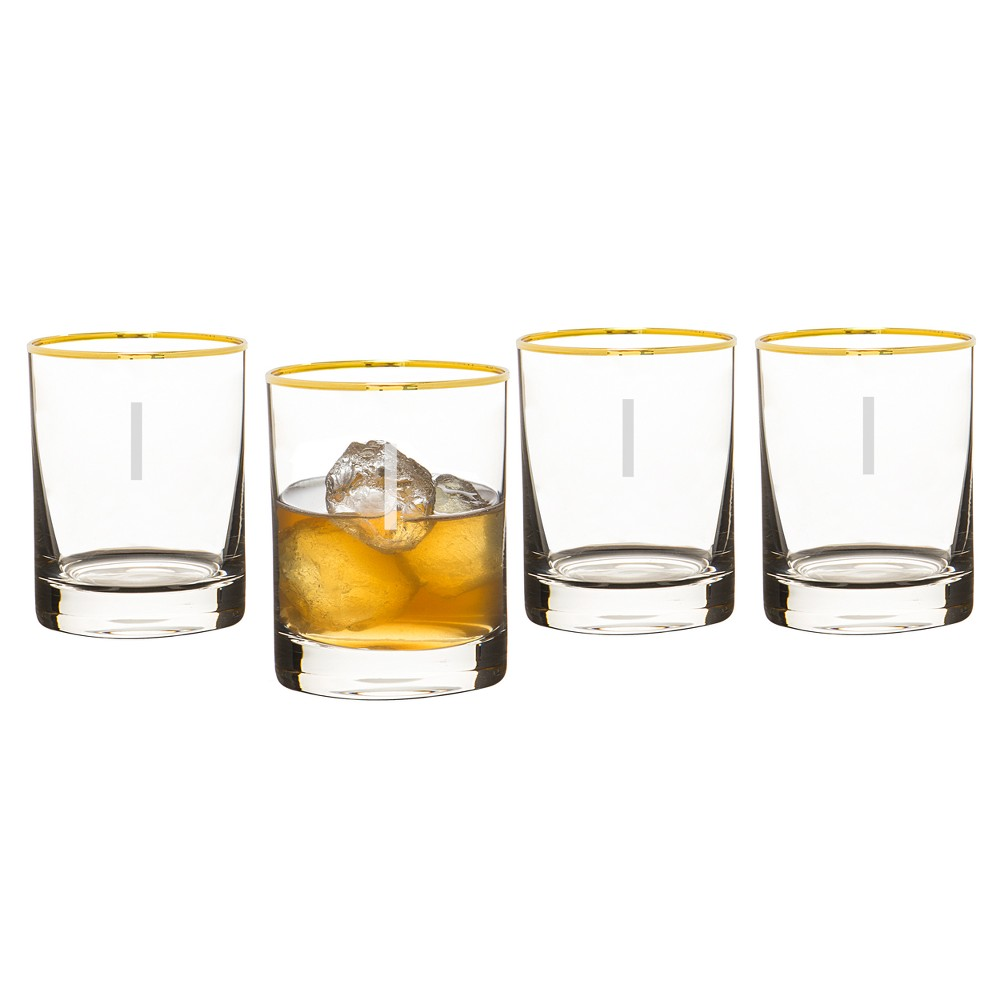 Cathy's Concepts Monogrammed Gold Rim Whiskey Glasses I 11oz - Set of 4, Clear Gold