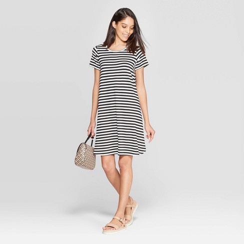 134dbdd7fdd Women s Striped Regular Fit Short Sleeve Crewneck Shift Dress - A New Day™  Black White   Target