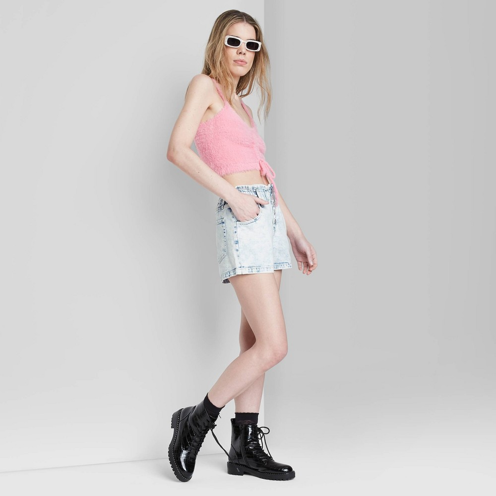 Women 39 S High Rise Button Front Paperbag Waist Jean Shorts Wild Fable 8482 Light Acid Wash 8