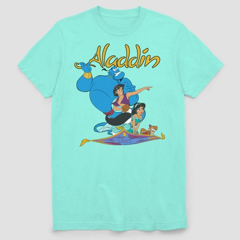 Men's Disney Aladdin Flying Buddies Short Sleeve Graphic T-Shirt - Mint - image 1 of 1