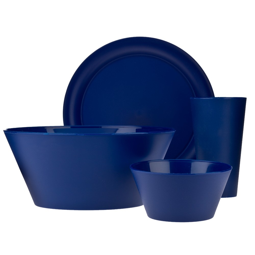 Image of CreativeWare Plastic 13pc Dinnerware Set - Navy