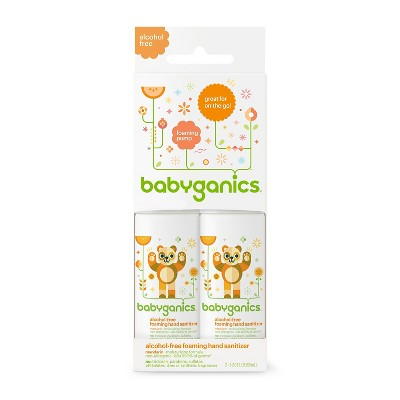 Babyganics Alcohol-Free On-The-Go Foaming Hand Sanitizer Mandarin- 1.69oz Pump Bottle (2pk)