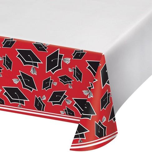3ct Graduation School Spirit Tablecloth Red - image 1 of 4