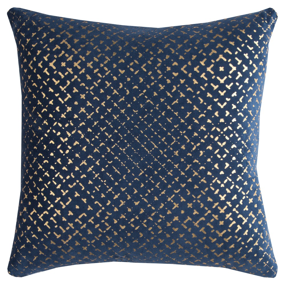 Rizzy Home Geometric Throw Pillow Navy Blue