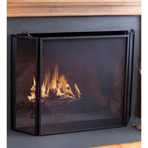 Classic Tri-Fold Flat-Guard Fireplace Fire Screen, 50''W X 30''H - Plow & Hearth - image 1 of 1