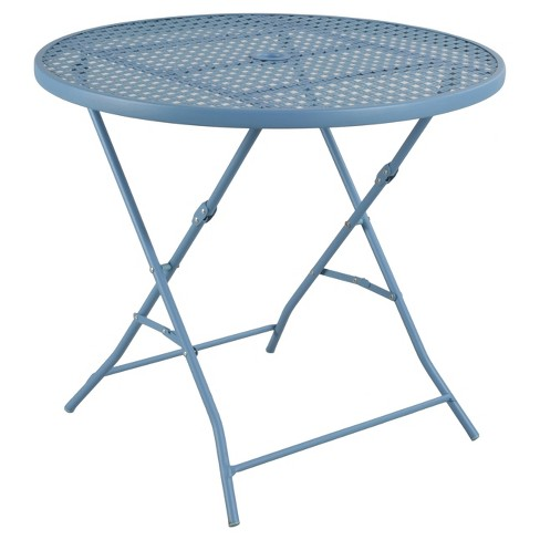 Metal Punch Folding Patio Bistro Table Blue Threshold Room - Metal folding patio table and chairs