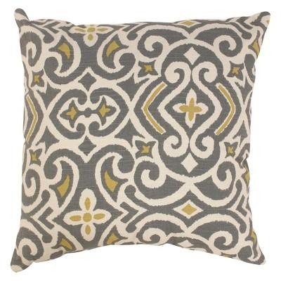 Gray/Yellow Damask Floor Throw Pillow (24.5 x24.5 )- Pillow Perfect