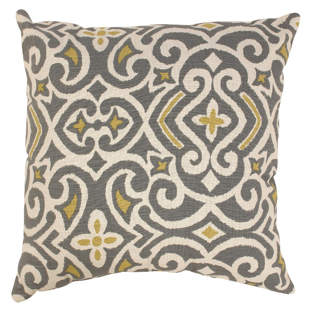 Gray/Yellow Damask Throw Pillow Collection (11.5