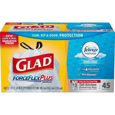 Glad Forceflex Odorshield Tall Kitchen Drawstring Trash Bags Fresh Clean Scent 13 Gallon 45ct