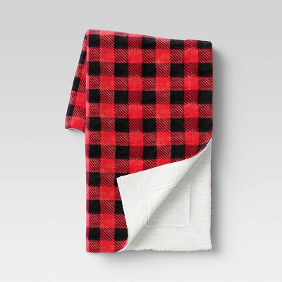 Holiday Buffalo Checked Plush with Sherpa Reverse Throw Blanket Red - Wondershop™