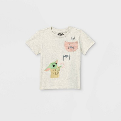 Toddler Boys' Star Wars Baby Yoda Short Sleeve Pocket T-Shirt - Cream