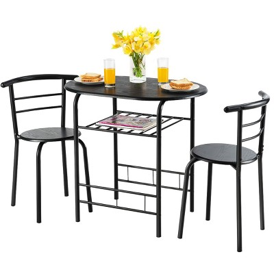 Costway 3 PCS Dining Set Table and 2 Chairs Home Kitchen Breakfast Bistro Pub Furniture Black