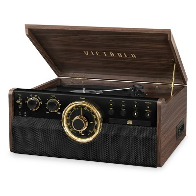 Victrola 7-in-1 Wood Empire Bluetooth Record Player with 3-Speed Turntable, CD, Cassette Player and Radio (Manufacturer Refurbished)