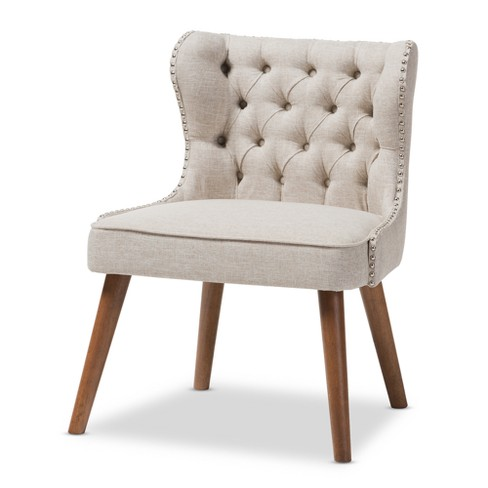 Scarlett Mid - Century Modern Wood And Fabric Upholstered Button - Tufting With Nail Heads Trim 1 - Seater Accent Chair - Baxton Studio - image 1 of 6