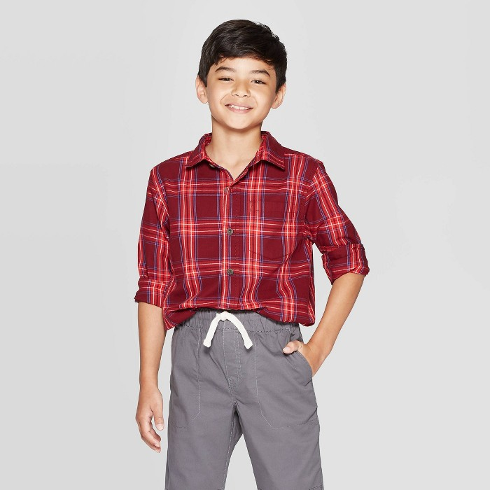 Boys' Long Sleeve Button-Down Shirt - Cat & Jack™ Red - image 1 of 3