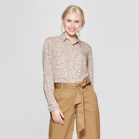 13ff57316638 Women's Leopard Print Long Sleeve Crepe Blouse - A New Day™ Tan : Target