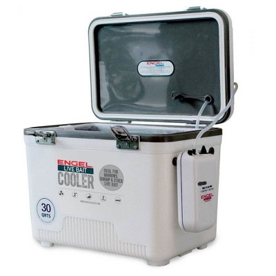 Engel 30 Quart Portable Insulated Live Bait Fishing Dry Box 48 Can Hard Airtight Cooler with Water Speed Aerator Pump and Removable Pull Net, White