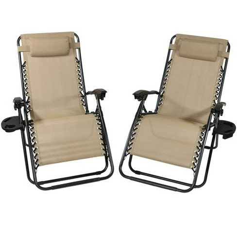 Enjoyable Oversized Zero Gravity Lounge Chair With Pillow And Cup Holder Set Of 2 Khaki Sunnydaze Decor Alphanode Cool Chair Designs And Ideas Alphanodeonline