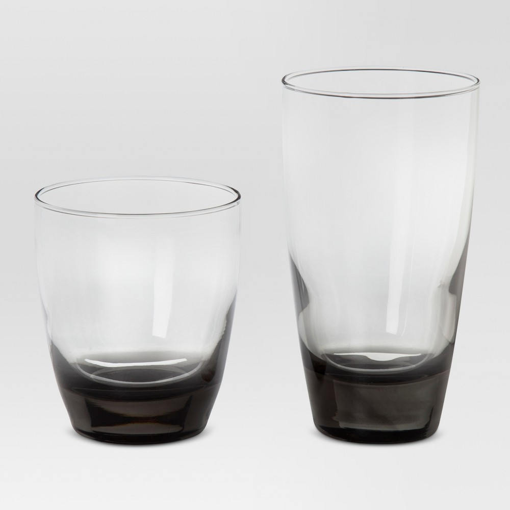 Image of 12pc Glass Sherbrook Assorted Tumblers Smoke - Threshold , Gray