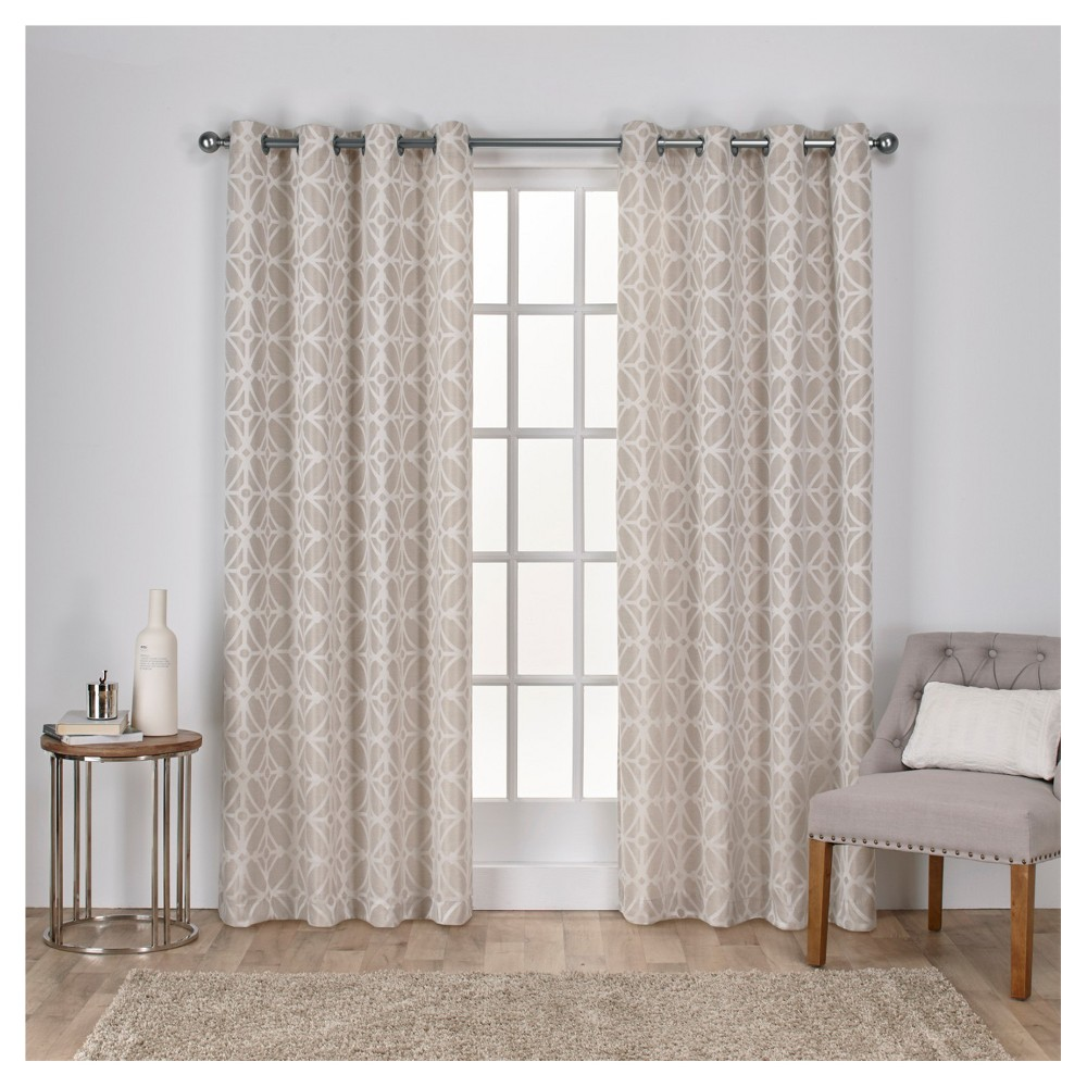 Cressy Geometric Textured Linen Jacquard Grommet Top Window Curtain Panel Pair Linen (54
