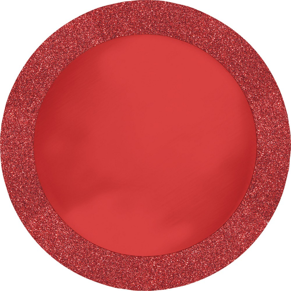 8ct Glitz Red Disposable Placemats