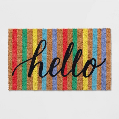 18 X30  Multi Stripe Hello Doormat - Sun Squad™