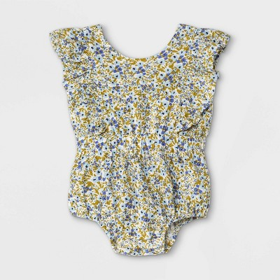 Baby Girls' Floral Woven Cinched Waist Romper - Cat & Jack™ Blue/White 3-6M