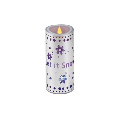 "Diva At Home 7"" Silver Colored ""Let it Snow"" Flameless Candle with LED Lights"