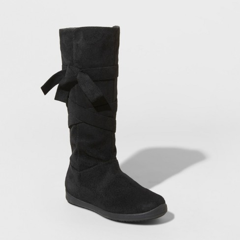 3c975a2b70a6 Girls  Valora Microsuede Bow Tall Fashion Boots - Cat   Jack™ Black 1    Target