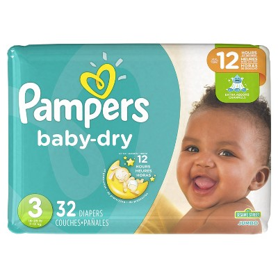 Pampers Baby Dry Diapers, Jumbo Pack - Size 3 (32 ct)
