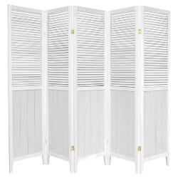 6 ft. Tall Beadboard Divider - White (5 Panels)