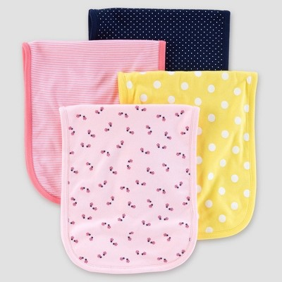 Baby Girls' 4pk Burpcloths - Just One You® made by carter's Pink/Yellow/Navy One Size