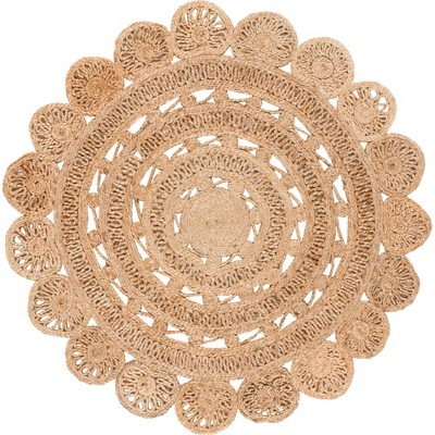 3' Solid Woven Round Accent Rug Light Gray - Safavieh