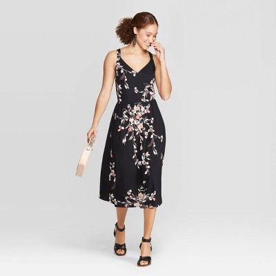 6fac7c363ca60 Women s Floral Print Relaxed Fit Sleeveless Deep V-Neck Midi Dress - A New  Day