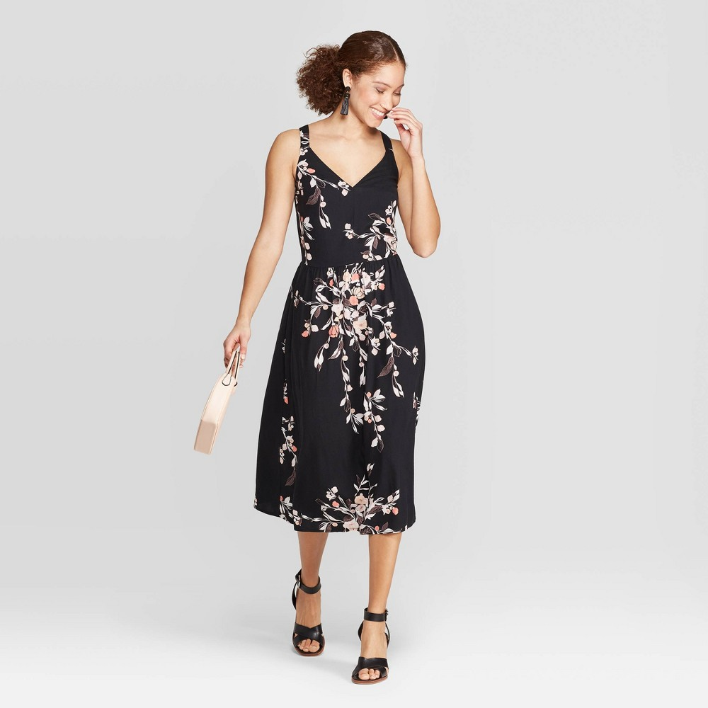 Women's Floral Print Relaxed Fit Sleeveless Deep V-Neck Midi Dress - A New Day Black S
