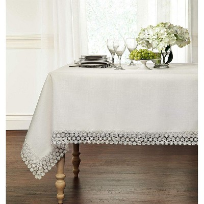 Kate Aurora Lux Living Textured Macrame Trimmed Off White Fabric Tablecloth
