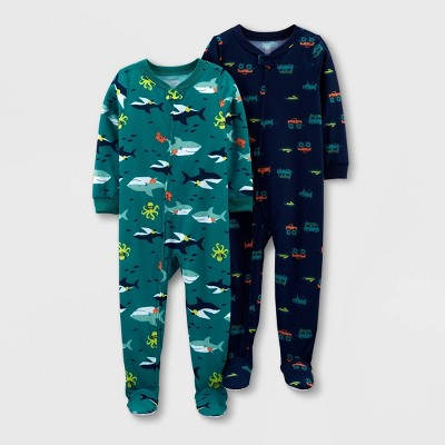 Toddler Boys' 2pk Footed Shark Transportation Pajama Jumpsuit - Just One You® made by carter's Blue