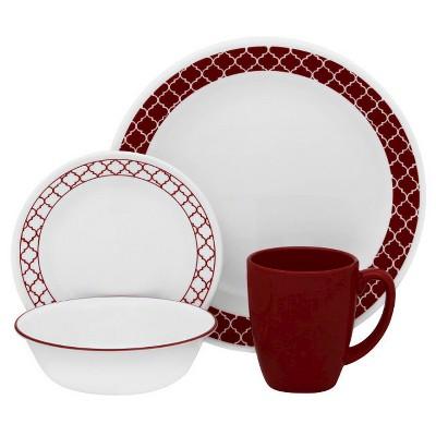 Corelle Livingware 16pc Vitrelle Dinnerware Set Crimson Trellis