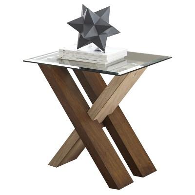 Tasha End Table Glass and Wood - Steve Silver