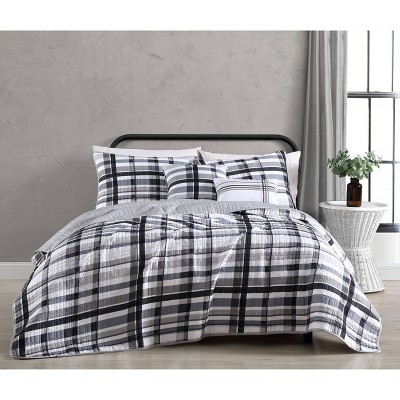 Maris Plaid 5pc Quilt Set - Geneva Home Fashion