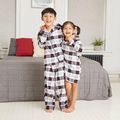Kids' Holiday Plaid Flannel Matching Family Pajama Set - Wondershop™ White 10