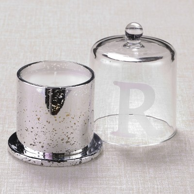 Lakeside Unscented Monogram Mercury Glass Jar Candle with Cloche Top