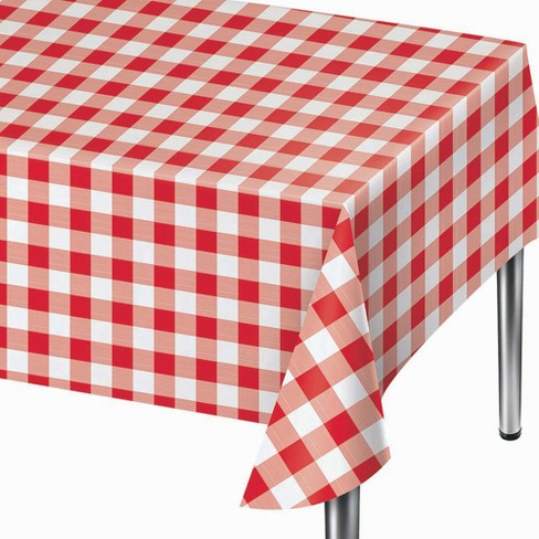 """108"""" x 54"""" Gingham Print Plastic Tablecloth - image 1 of 1"""