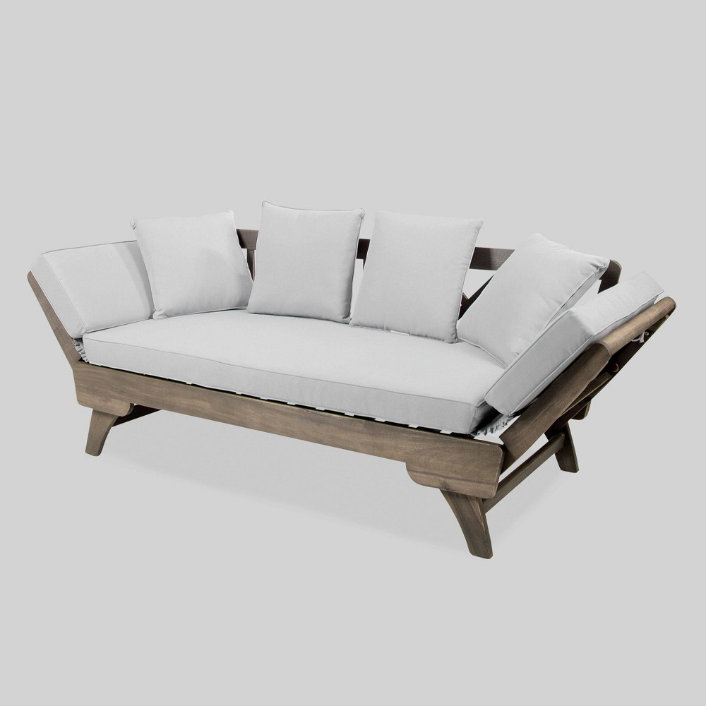 Ottavio Acacia Wood Outdoor Patio Daybed - Gray - Christopher Knight Home