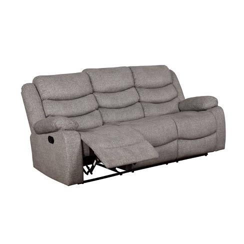 Reston Pillow Top Arms Recliner Sofa Light Gray - miBasics - image 1 of 4